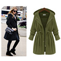 Plus size 4XL long trench coat for women black army green elastic waist lady's hooded trench FS0163