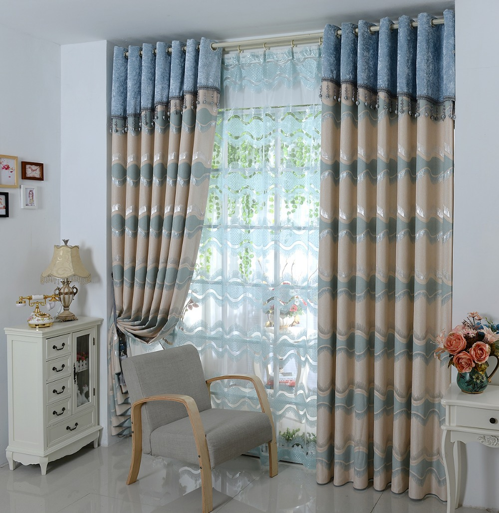 Luxury European Curtain Head Embroidered Blue Brown Sun Shading Screens Custom Finished Bedroom Windows Curtains Tulle In From Home