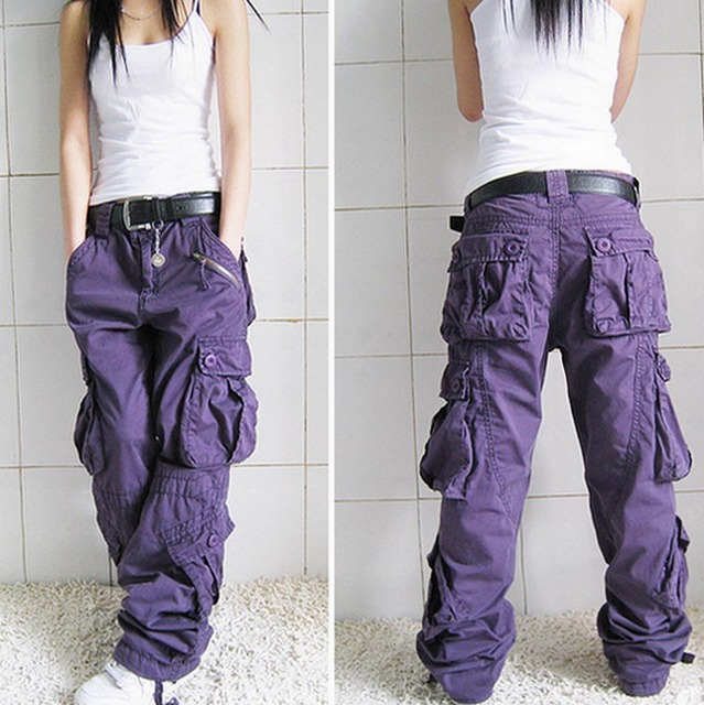 Free Shipping 2021 New Arrival Fashion Hip Hop Loose Pants Jeans Baggy Cargo Pants For Women 4