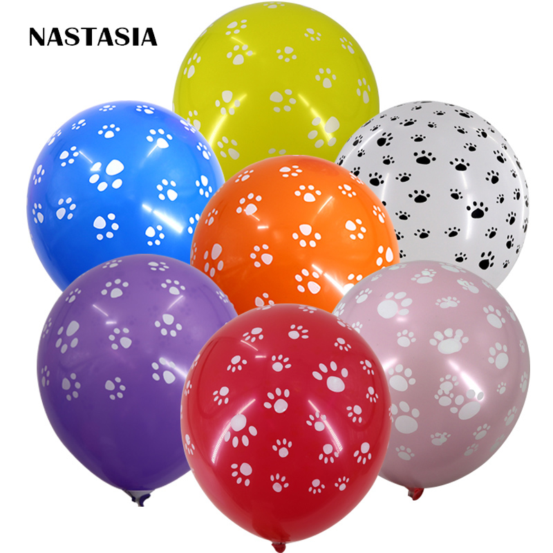 US $6 35 |40pcs Dog footprints balloons Lovely Candy color party supplies  helium balloons wholesale 12 inch 2 8g good quality-in Ballons &  Accessories