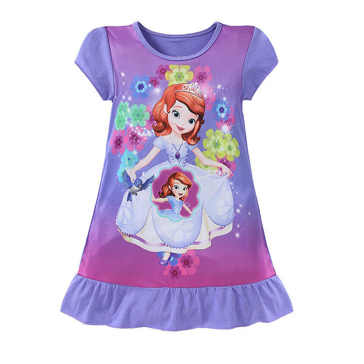 6Colors Kids Girls Summer Short Sleeve Princess Dress Cartoon Character Printed Children's Casual Clothes For 3-10Y C627