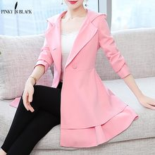 купить PinkyIsBlack Women's Trench Coat Plus Size 2XL Hoodie Windbreaker Solid Skirt Hem Overcoat Double Breasted Coat Female онлайн