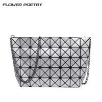 Fashion Handbags Laser Geometric Diamond Shape PU Plaid Sliver Women Chain Shoulder Bag Bao Bao Bags