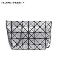 Fashion Handbags Laser Geometric Diamond Shape PU Plaid Sliver Women Chain Shoulder Bag Bao Bao Bags