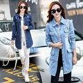 3xl além de calça jeans tamanho grande casacos mulheres primavera outono inverno 2017 buraco rasgado jeans longo de manga comprida trincheira denim casaco feminino A1833