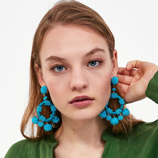 Image result for Ethnic Big Round Beads Dangle Earrings