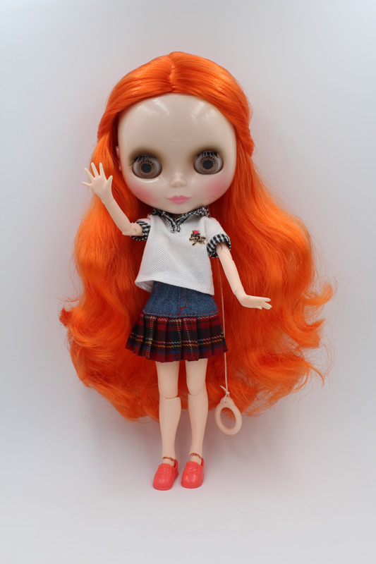 Free Shipping BJD joint RBL-239J DIY Nude Blyth doll birthday gift for girl 4 colour big eyes dolls with beautiful Hair cute toy free shipping nude blyth doll pink hair big eye doll for girl s gift pj002