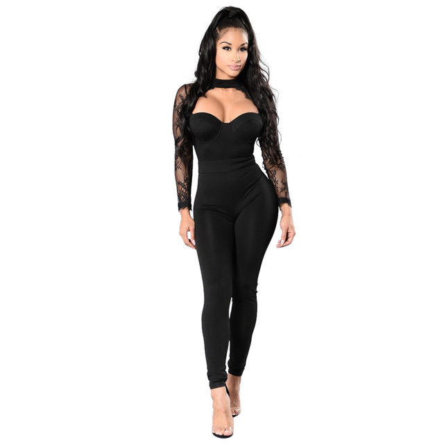f2b50b3ed411 OKAYOASIS 2017 Fashion Autumn Winter Women Rompers Sexy Fashion Long Sleeve  Black Lace Patchwork Jumpsuits