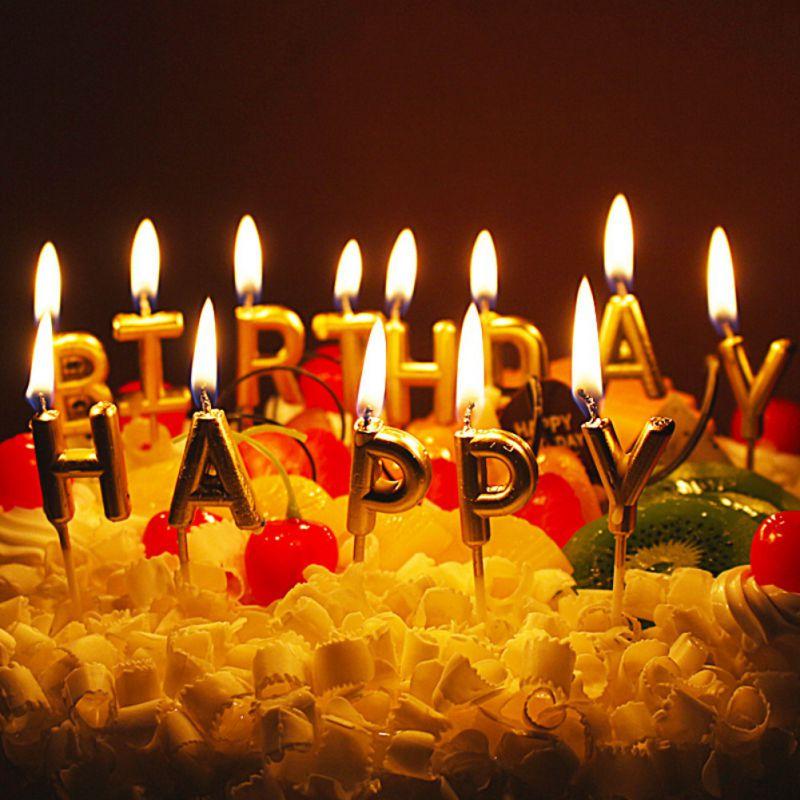 Surprising Happy Birthday Letter Cake Candles Lovely Birthday Candles Gold Personalised Birthday Cards Akebfashionlily Jamesorg
