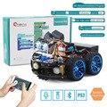4WD Carros Do Robô para Arduino Super Starter Kit Carro Inteligente APP RC Robótica Aprendizagem CAULE Kit DIY Brinquedo Do Miúdo, apoio Scratch Biblioteca