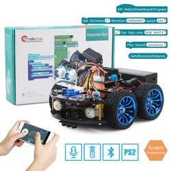 4WD Smart Robot Car Diy para Arduino con Ble UNO R3, Kit de aprendizaje de Robótica de arranque APP RC tallo de juguete Chico, soporte de biblioteca de arañazos