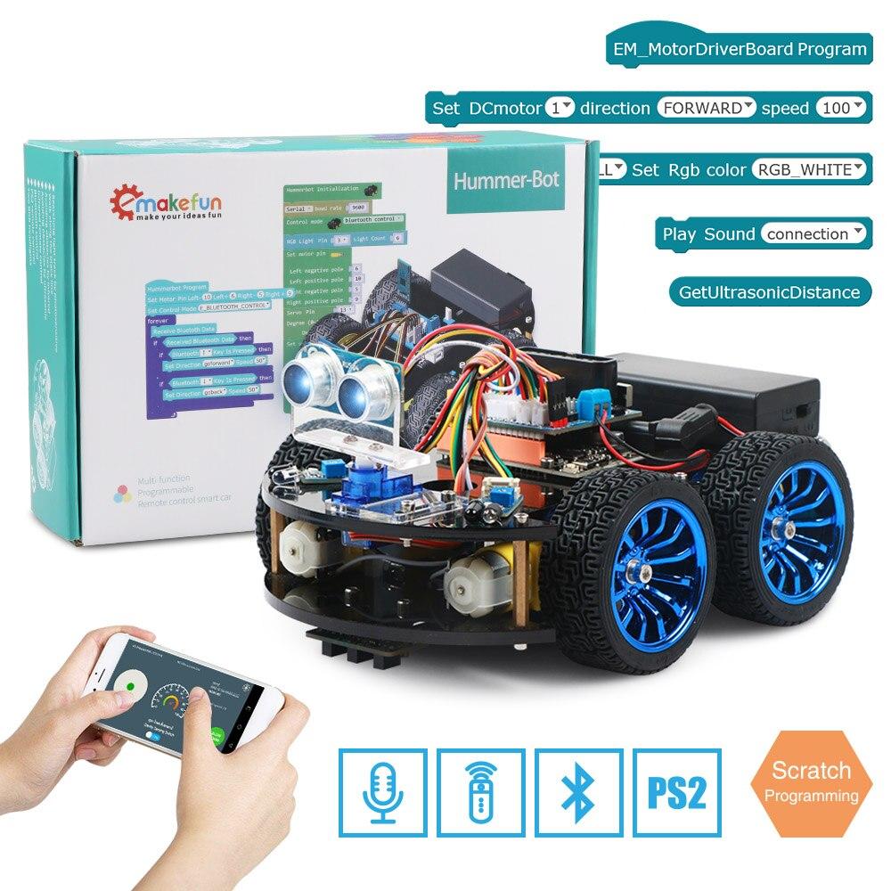 4WD Smart Robot voiture bricolage pour Arduino avec Ble UNO R3, Kit d'apprentissage de robotique de démarrage APP RC tige jouet enfant, Support bibliothèque à gratter