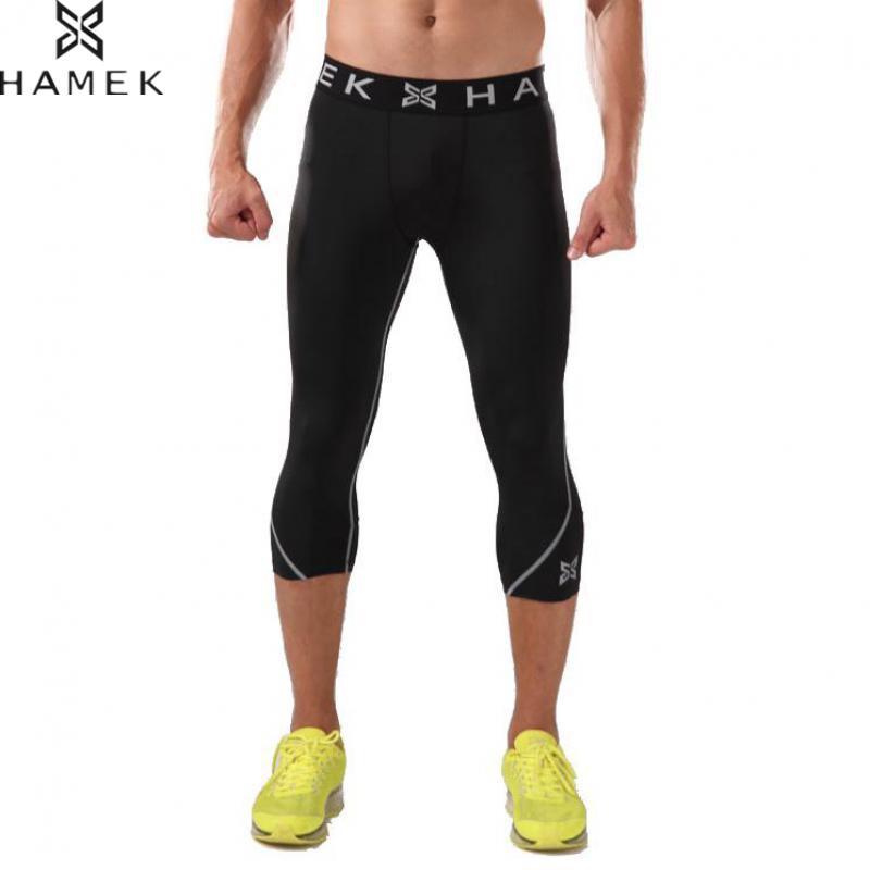 HAMEK New 3/4 Compression Running Pants Men Cropped Tights Basketball Leggings Sport Trousers Gym Fitness Bottoms Jogging Kit