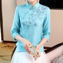 Blouse Women 2019 Spring Summer New Stand Collar Lace Patchwork Flowers Embroidered Tang Suit Solid Color Tops S-XXL