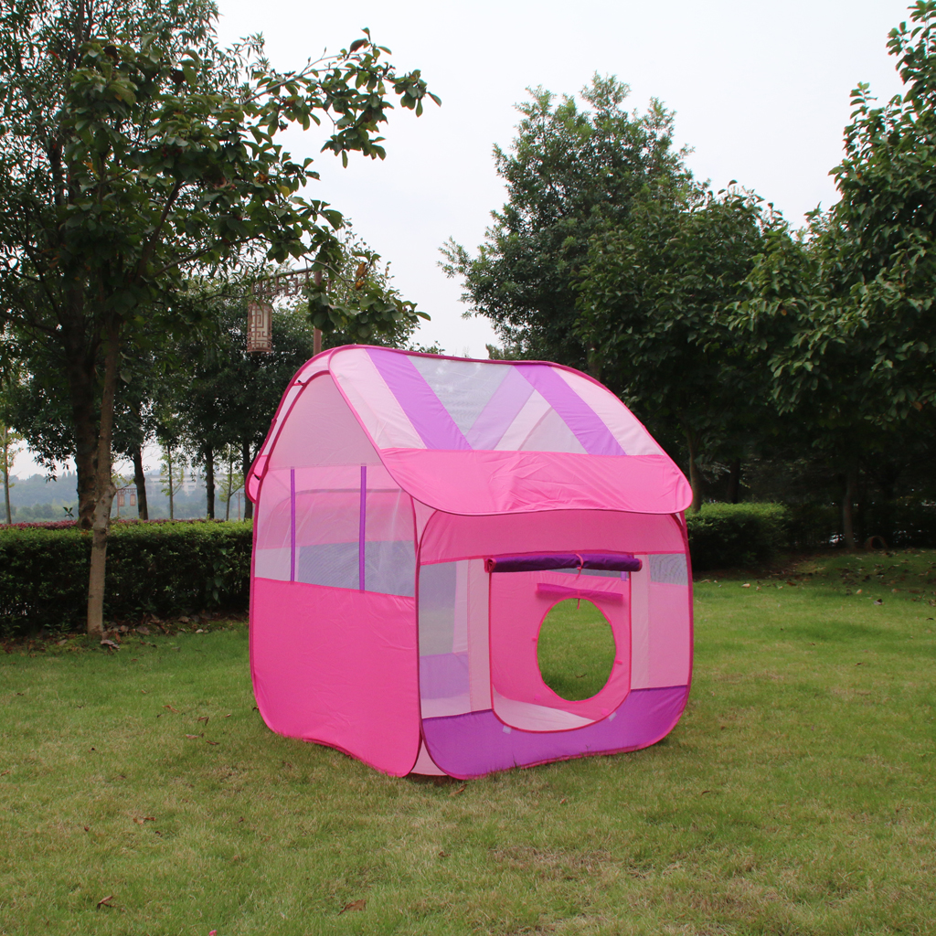 Portable Pink Princess Kids Girls Play House Indoor Outdoor Pop Up Tent Toy for Park Garden Yard Party Camping