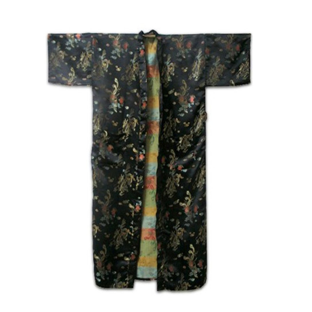 Nueva Llegada Negro Masculino Bata De Seda Vestido Chino de La Vendimia Impresa ropa de dormir Kimono Moda Dropshipping Tamaño S M L XL XXL ZR24