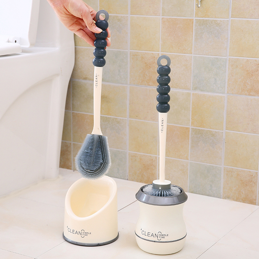 Flat/ Round Type Toilet Cleaning Brush Holder, Fine Pe Bristles, Gourd Long Handle With Hanging Hole, Toilet Deep Clean Brush