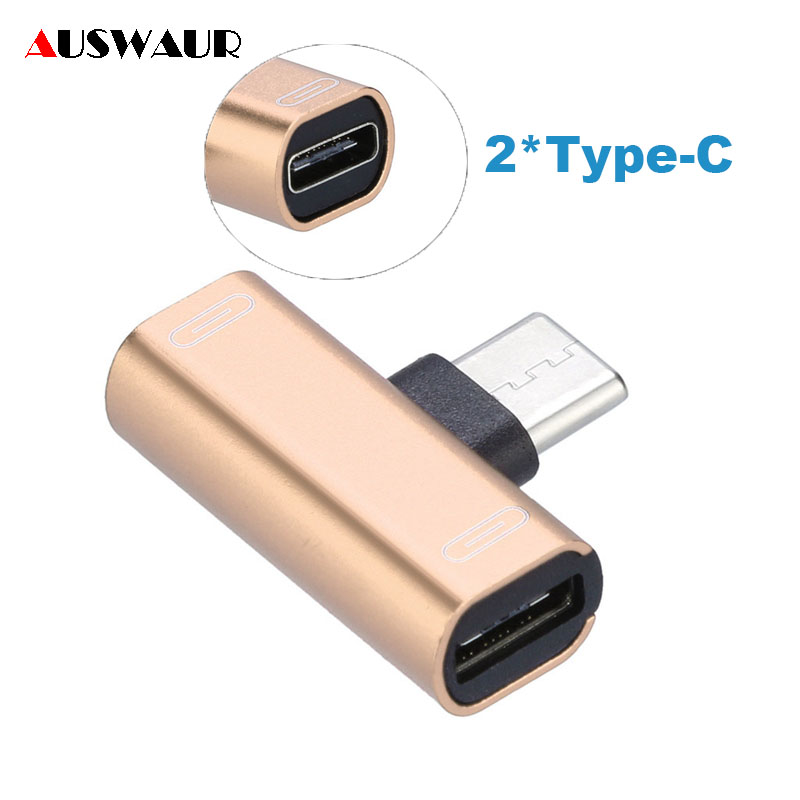 Dual Type-C Type C Audio Charge Adapter For Samsung S7 S8 S9 S10 Plus Huawei P10 P20 P30 Plus USB C Headphone Earphone Adapter
