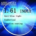 1.61 índice de protección anti uv contra la radiación lentes ópticas anti luz azul clara lente miopía hipermetropía astigmatismo presbicia