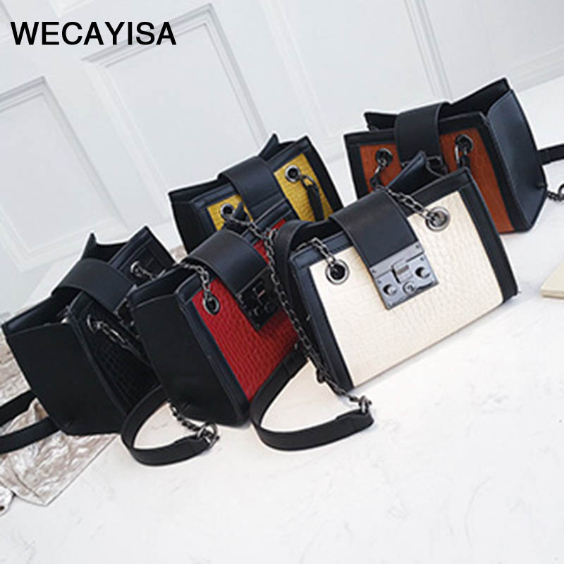 WECAYISA Fashion vintage Chain strap PU leather Day Clutches women bags Zipper & Hasp 5 colors girl tote travel bag metallic hasp pu leather tote bag