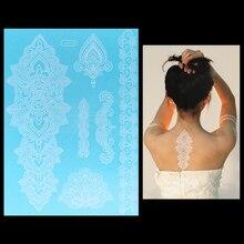 1 Sheet Hot Flash Metallic Waterproof Tattoo Women White Ink Henna Lace WJ016 Flower Totem Arm Body Art Temporary Tattoo Sticker