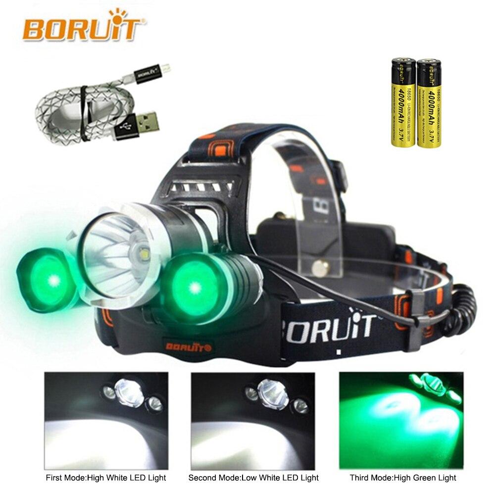 LED Headlamp Fishing Headlight Green Light 5000 Lumen XML-T6 3 Modes Lamp Waterproof Head Torch Flashlight Head Lamp Use 18650