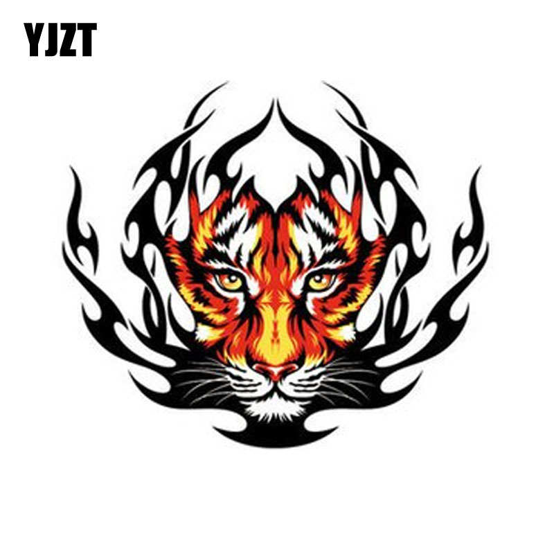 YJZT  15CM*12.9CM Funny Tiger Flame Decal PVC Motorcycle Car Sticker 11-00598