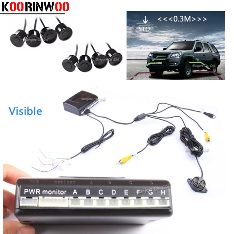 8 Redars Koorinwoo Car Sensores de Estacionamento Sistema de Vídeo Auto Sistema de Alarme BIBI Som do Alarme de Estacionamento Assistência de Estacionamento parktronic