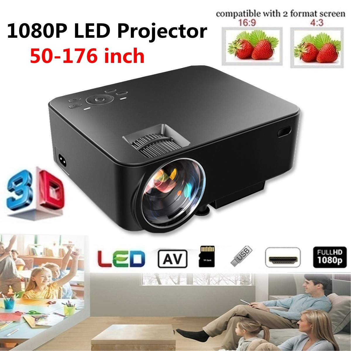 Portable Projector Home Theater Cinema Multimedia AV VGA USB 7000Lumens 1080P Full HD LED  with Remote ControlPortable Projector Home Theater Cinema Multimedia AV VGA USB 7000Lumens 1080P Full HD LED  with Remote Control