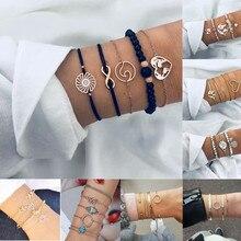 HOCOLE Charm Chain Bracelets For Women Heart Bead Bohemian Gold Metal Bangle Strand Bracelet Sets Fashion Party Jewelry Gifts