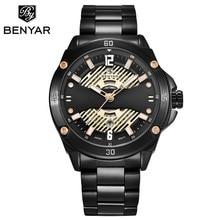 BENYAR Fashion Stainless Steel Chronograph Sports Mens Watches Top Brand Luxury Quartz Business Watch Clock Relogio Masculino
