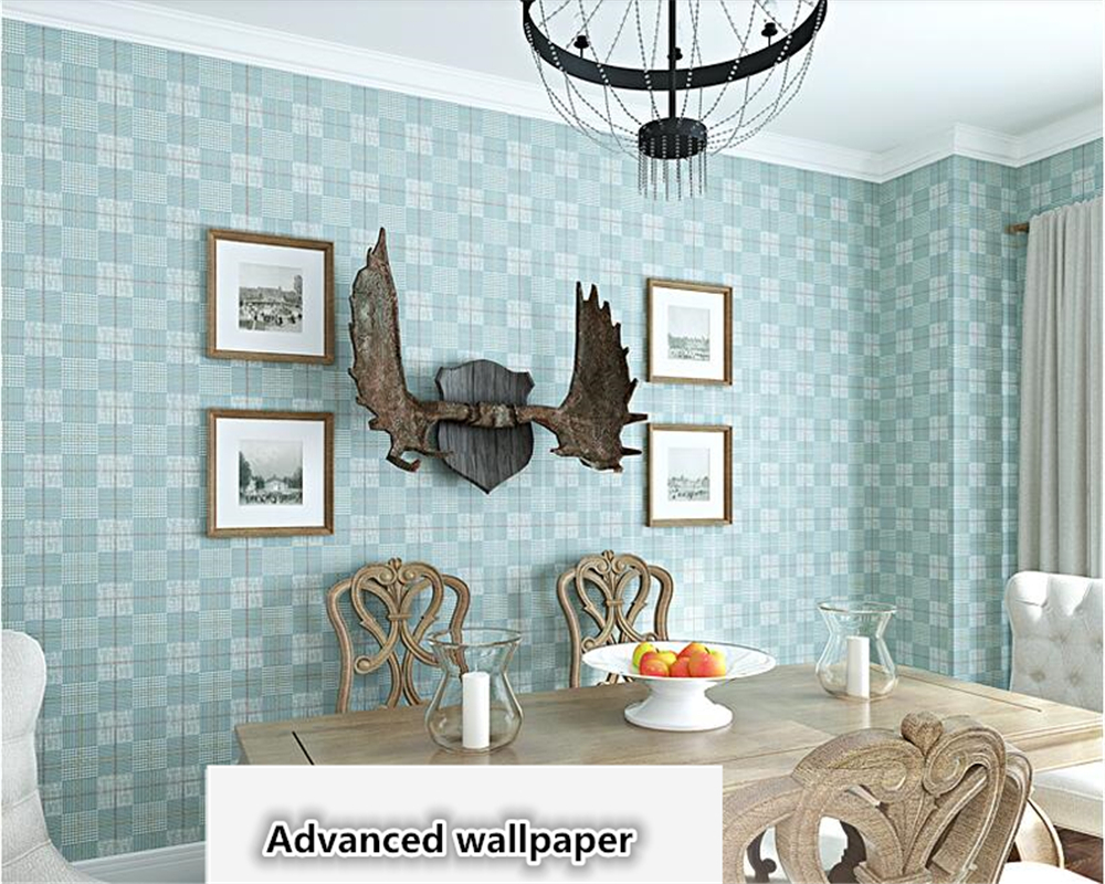 beibehang Dark blue plaid wallpaper British style living room American retro Mediterranean bedroom papel de parede 3d wallpaper beibehang american wooden imitation clothing store 3d stereo wooden wallpaper mediterranean living room bedroom papel de parede page 6