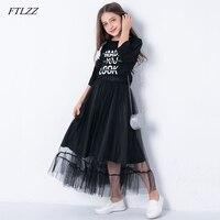 FTLZZ Two Piece Set Girls Dress Letter Print Children Clothing Set Long Summer Kids Autumn Spring Mesh Suit For Girls Teenage