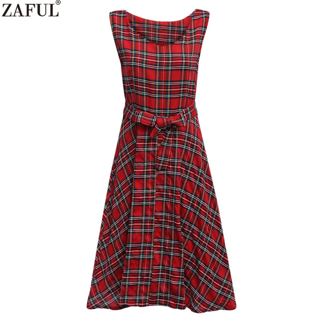ZAFUL Brand New Women Red Plaid UK Style Belts Summer Vintage Dress  Rockabilly Retro 60s Party Dress Ukraine Feminino Vestidos ac5700c89008