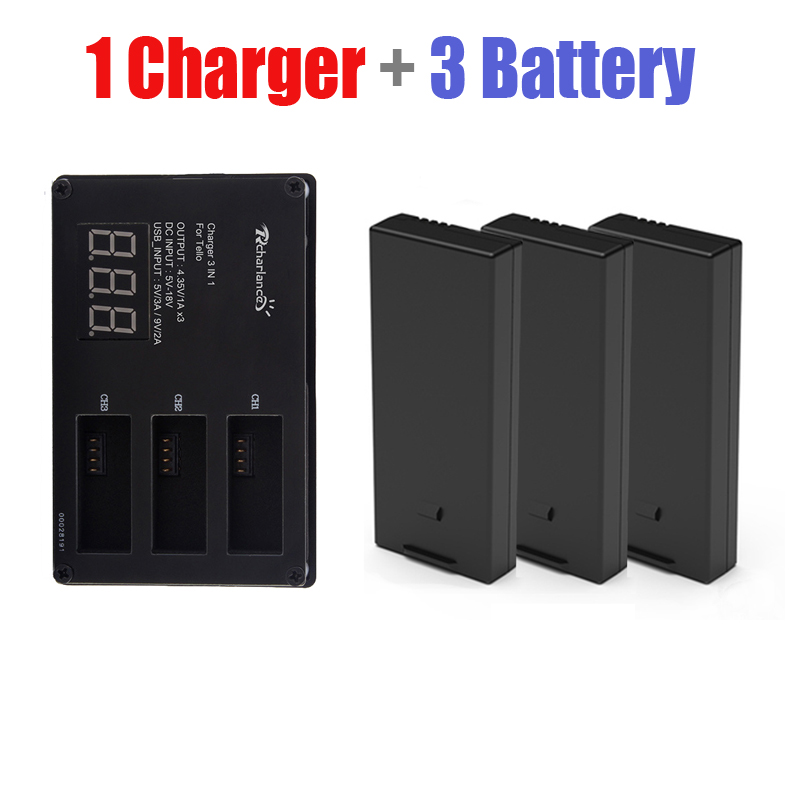 3pcs DJI Tello Drone Flight battery + Quickly Battery charger charging hub tello For DJI Tello lipo battery Accessories battery charger hub 3in1 multi quick charging for dji tello intelligent flight battery portable drone accessories