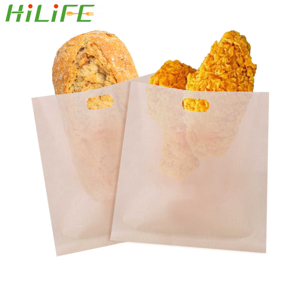 Hilife Toaster Bags Reusable Baking Tools Baked Toast Bread Non Stick Gadgets Cooking Kitchen Accessories 2pcs Set