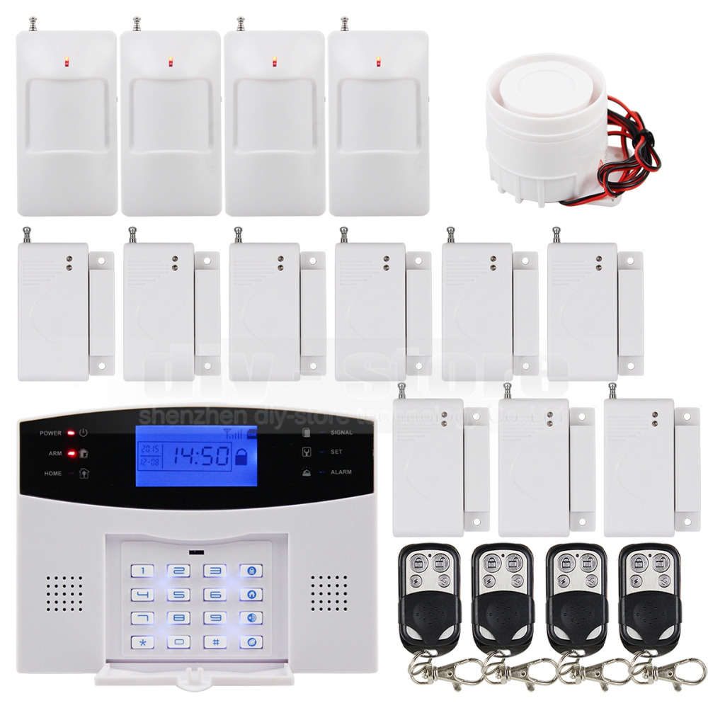 DIYSECUR Wireless Gsm Intruder Home Security System 850/900/1800/1900MHz Remote Control PIR Motion Door Sensor Siren passive intruder