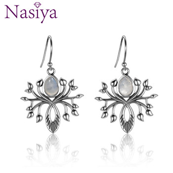 Fashion Water Drop Natural Moonstone Drop Earrings Jewelry Earrings  For Women Solid 925 Silver Party Wedding Birthday Gift v ya 925 stertling silver agates water drop earrings natural stone dangle earrings women wedding party jewelry gift
