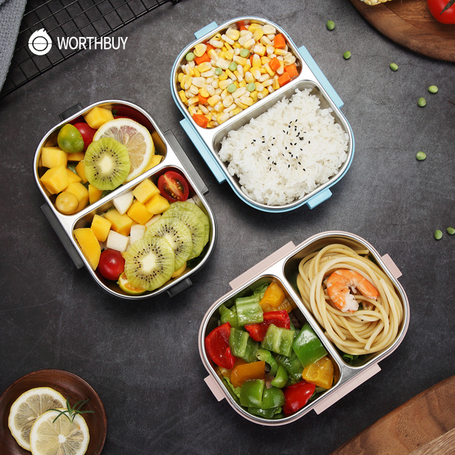 WORTHBUY Japanese Portable Lunch Box For Kids School 304 Stainless Steel Bento Box Kitchen Leak-proof Food Container Food Box 4