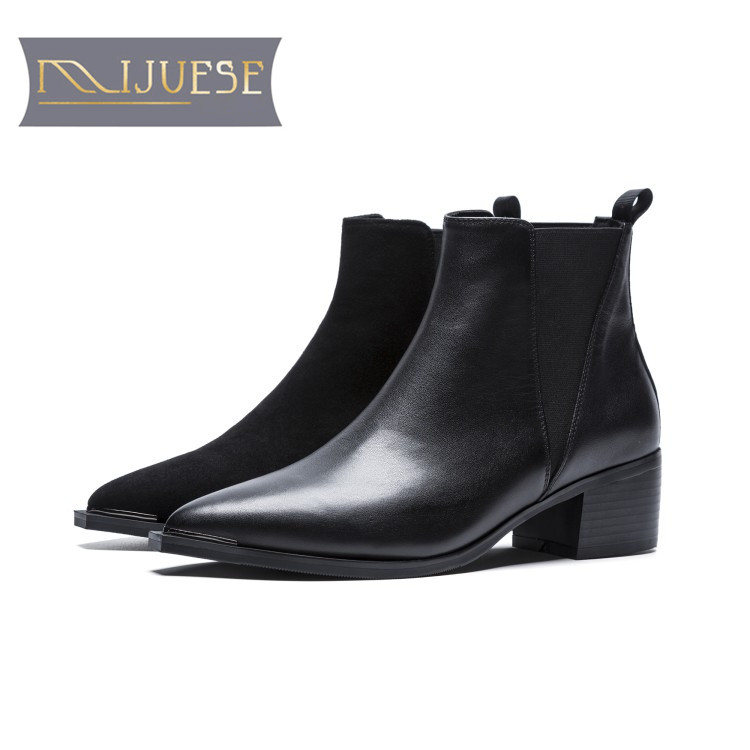 MLJUESE 2018 women ankle boots cow leather black color pointed toe slip on autumn spring women Chelsea boots casual boots