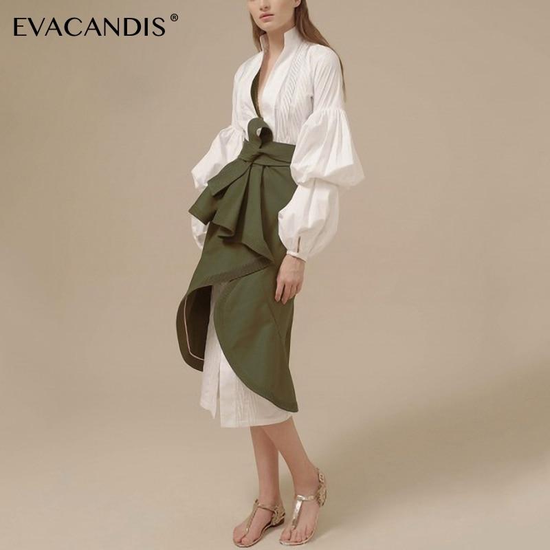 Blanc manches bouffantes chemise robe col en V élégant Sexy vert tunique de grande taille Midi bureau d'été robe à manches longues femmes robes