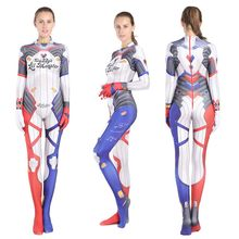 2019 Hot Womens Spandex 3D Print Movie Suicide Squad Harley Quinn Costumes Adult Female Superhero Cosplay Super Women Bodysuit(China)