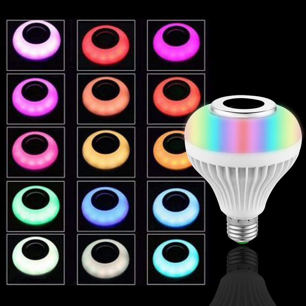 Smart Wireless Bluetooth Speaker LED RGB Music Bulb Dimmable E27 12W RGB Music Playing Light Lamp with Remote Control smart bulb e27 led rgb light wireless music led lamp bluetooth color changing bulb app control android ios smartphone