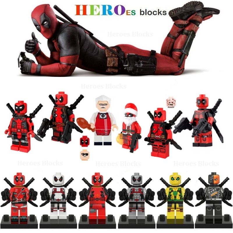 Red White Armed For Deadpooles Deathstroke Santa Claus Super Heroes Building Blocks Figure Bricks Toy Kid Gift
