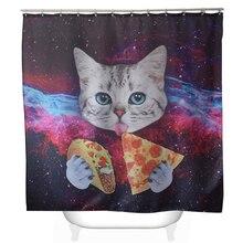 Svetanya Pizza Cat Print Shower Curtain Bath Products Bathroom Decor With 12pcs Hooks Waterproof 71x71