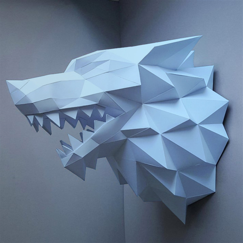 Dedicated Diy Wolf Head Paper Material Manual Creative Head Model Party Masquerade Show Props Lovely Tide Hand Made Cute Animal Gift Factories And Mines