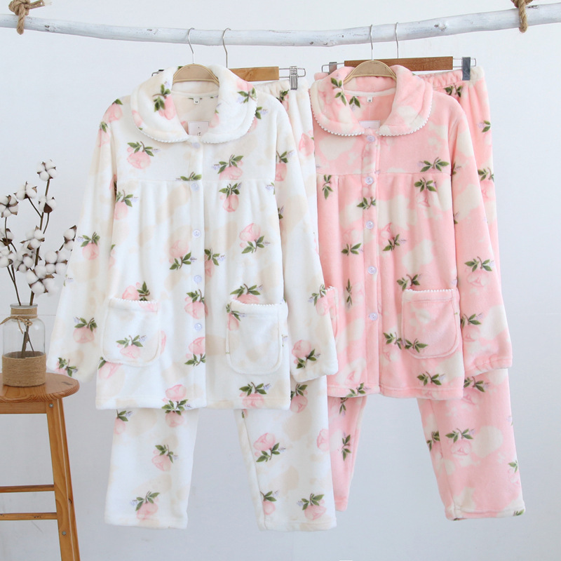 Autumn&winter Flannel Thickening Warm Women   Pajamas     Set   Long Sleeves and Trousers Home Clothes Plus Size Women's Comfortable