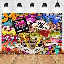 NeoBack 90s Party Backdrop Graffiti Hip Pop Photography Background Vinyl Themed Birthday Banner Backdrops