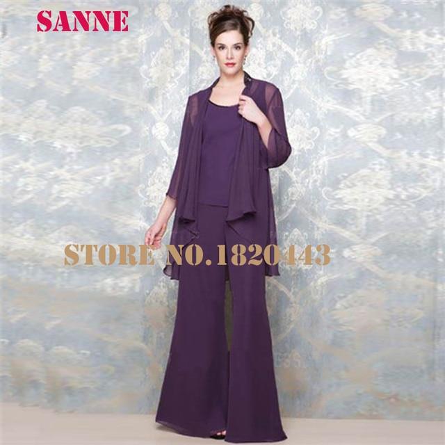 Vestido De Madrina 3 Pieces Mother Of Bride Pant Suits With Jacket Chiffon  Purple Wedding Pant Suits For Women c833928f5bd6