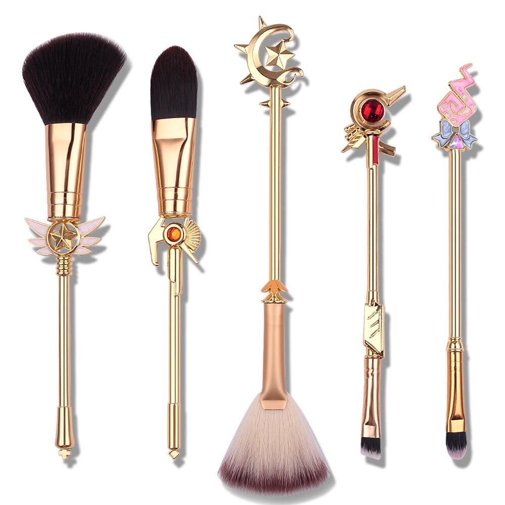 Eye Shadow Applicator Makeup Genuine Magic Girl 5pcs/set Cosmetic Makeup Brush Foundation Eyeshadow Eyebrow Powder Blush Brush Beauty Make Up Tools Set